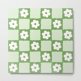 Retro Flower Checker in Forest Green Metal Print