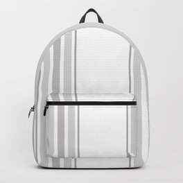 Farmhouse Ticking Stripes in Gray on White Backpack