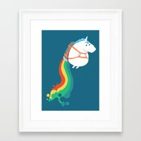 humor Framed Art Prints featuring Fat Unicorn on Rainbow Jetpack by Picomodi