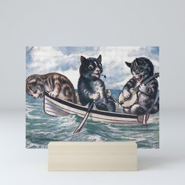 The kitties in a rowboat Mini Art Print