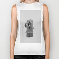 telephone Biker Tanks featuring Vintage Telephone by KimberosePhotography