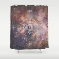 sacred geometry Shower Curtains featuring Sacred Geometry Universe 2 by Gaudy
