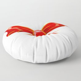 Isolated Red Ribbon Floor Pillow