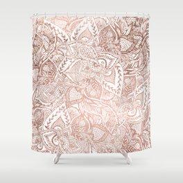 Chic hand drawn rose gold floral mandala pattern Shower Curtain