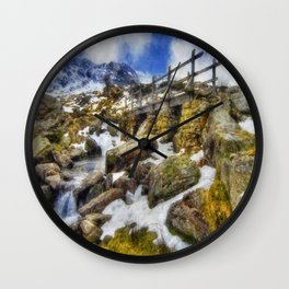 Bridge To Lake Idwal Wall Clock