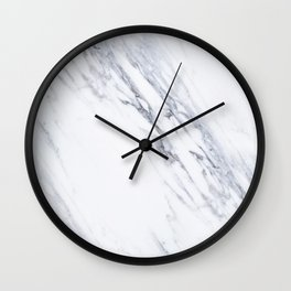 White Marble with Classic Black Veins Wall Clock
