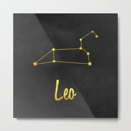 Leo Zodiac Constellation in Gold Metal Print