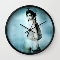 nurse Wall Clocks featuring sexy Nurse by Illu-Pic-A.T.Art