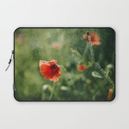 Red Poppy on Green background with bokeh Laptop Sleeve