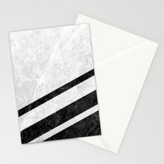 White Striped Marble Stationery Cards