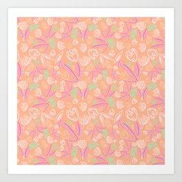 Peachy tulip farm Art Print