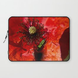 Little green insect while he's walking on a poppy Laptop Sleeve