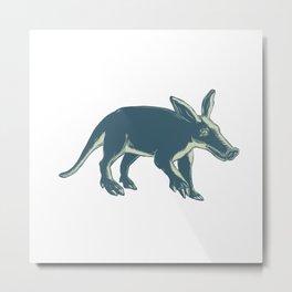 Aardvark Scratchboard Style Metal Print