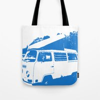 volkswagon Tote Bags featuring Stellar Ride into the Blue by Dawn Marie