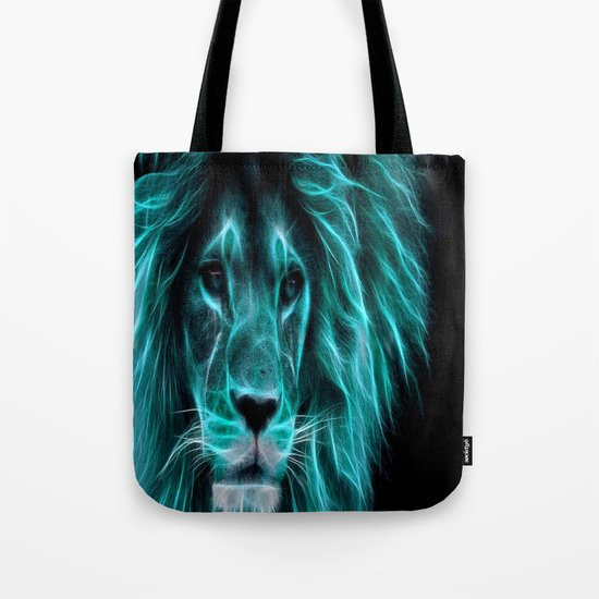 Leo Lion Turquoise Tote Bag