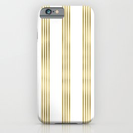 Simply luxury Gold small stripes on clear white - vertical pattern iPhone Case