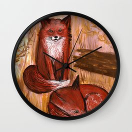 Brother Foxes Wall Clock