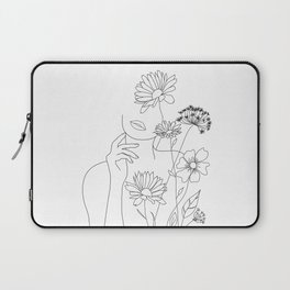 Minimal Line Art Woman with Flowers III Laptop Sleeve
