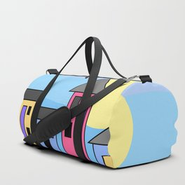 Pastel Daytime Houses Duffle Bag