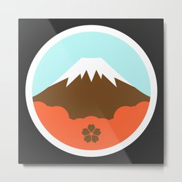 Mt. Fugi (Grey) Metal Print