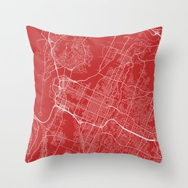 Chattanooga Map, USA - Red Throw Pillow