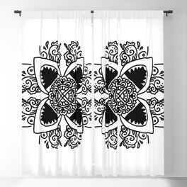 Angry Sharks - black and white - mandala Blackout Curtain