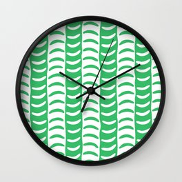 Wavy Stripes Green Wall Clock