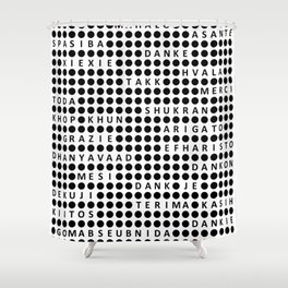 Thank you in different languages Shower Curtain