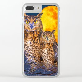 TWO OWLS IN FULL MOONSCAPE NIGHT Clear iPhone Case