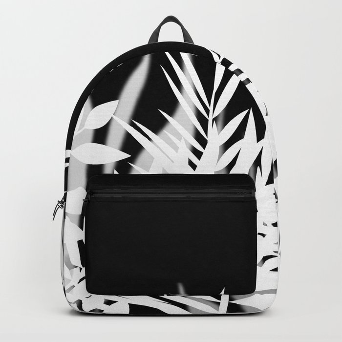 The leaves and berries. Black and white pattern . Backpack
