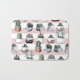 Potted Cactus Stripes Pink Rose Gold Bath Mat