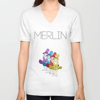 merlin V-neck T-shirts featuring Merlin by MajorTom