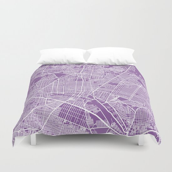 Guadalajara map lilac Duvet Cover