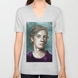Man in purple Unisex V-Neck