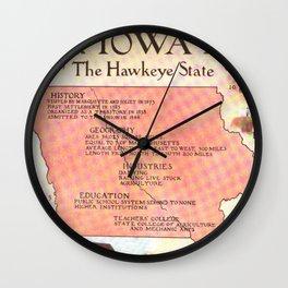 Vintage Map of Iowa (1912) Wall Clock