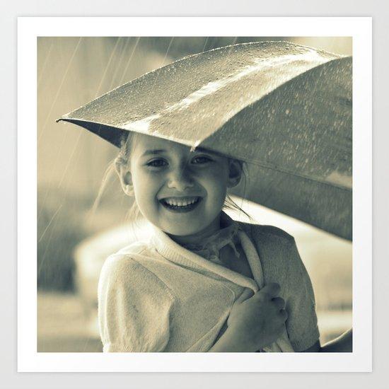 laughing in the rain Art Print