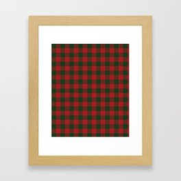 90's Buffalo Check Plaid in Christmas Red and Green Framed Art Print
