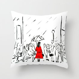 The Girl In The Red Rain Coat (Part 1)  Fine Art Acrylic Painting Throw Pillow