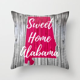 Sweet Home Alabama Wood Gifts Throw Pillow