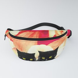 Two Black Cats with Floral Pattern Background #decor #society6 #buyart Fanny Pack