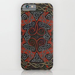 Celtic Knotwork Greyhounds - Red & Taupe iPhone Case