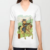 archer V-neck T-shirts featuring The Archer by Ginger Breo