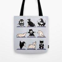 shiba Tote Bags featuring Shiba Yoga by Huebucket