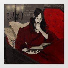 Dracula Reading Canvas Print
