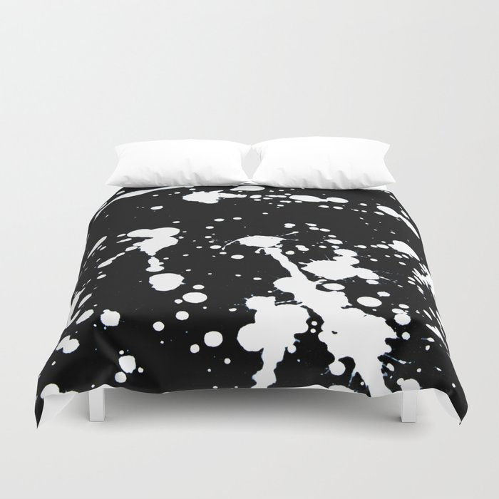 white and black abstract paint splatter on black canvas duvet cover