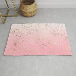 Pink White Ombre Speckled Gold Flakes Rug