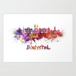 Bialystok skyline watercolor splatters Art Print