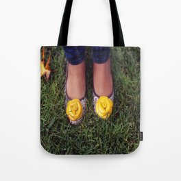 Yellow Flower Shoe! Tote Bag