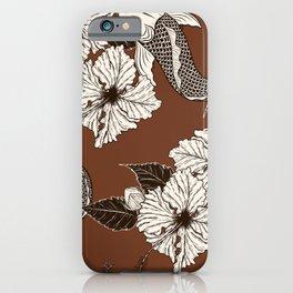 Dark Brown Floral Koi Pattern iPhone Case