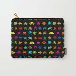 Invaders of Space retro arcade video game pattern design Carry-All Pouch